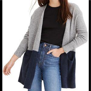 Women's blue and grey Madewell cardigan-XL